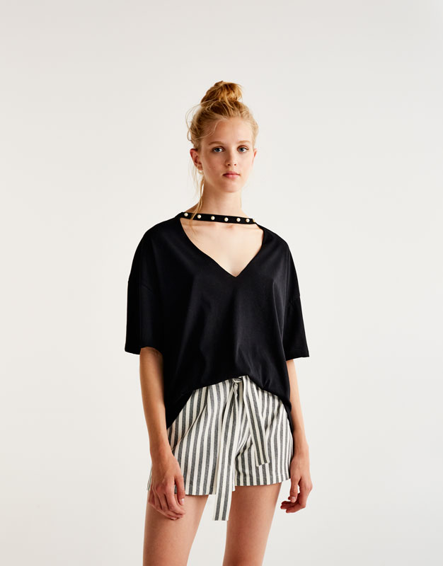 Oversized T-shirt with faux pearl neckline