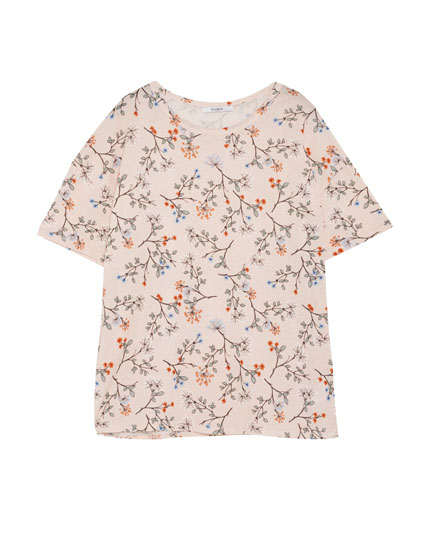 All over flower print T-shirt