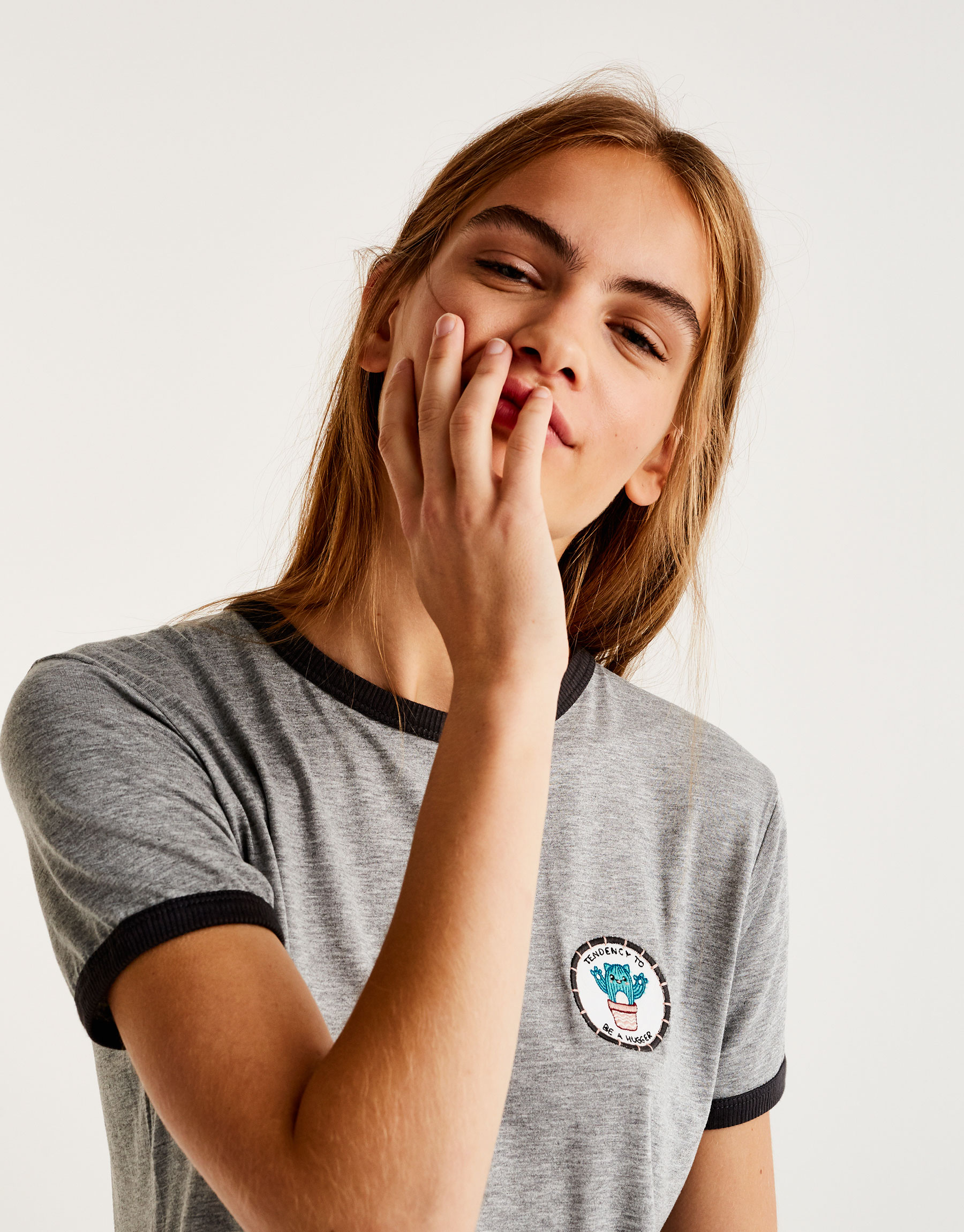 T-shirt with cactus patch