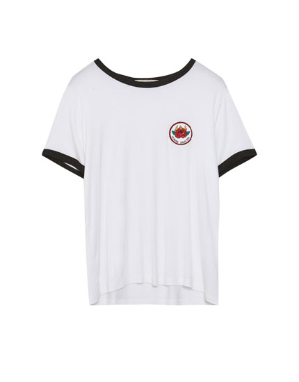 T-shirt with rose patch
