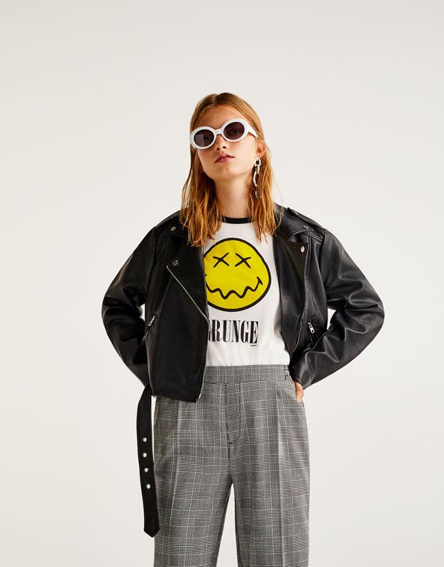 'Grunge' smiley face T-shirt