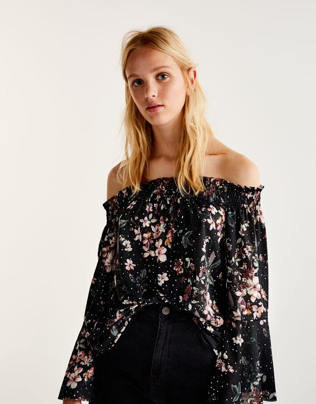 Schulterfreie Bluse mit Blumenprint