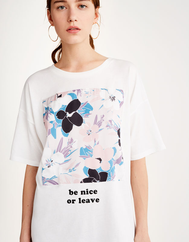 Floral T-shirt with graphic print