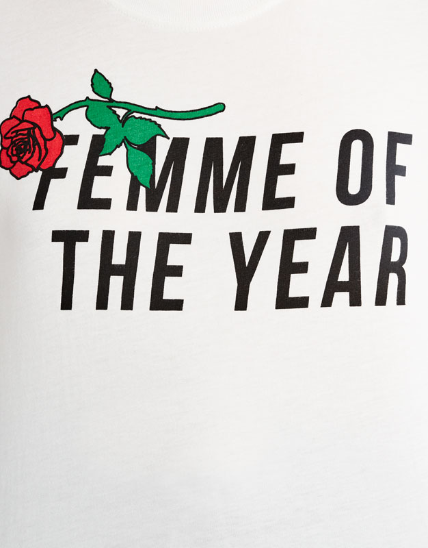 Rose print T-shirt with slogan