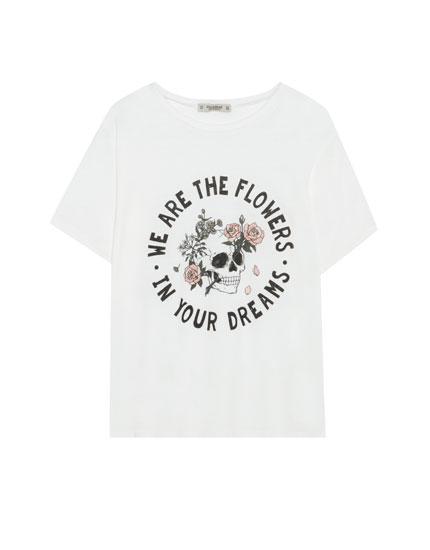 Camiseta print calavera rosas