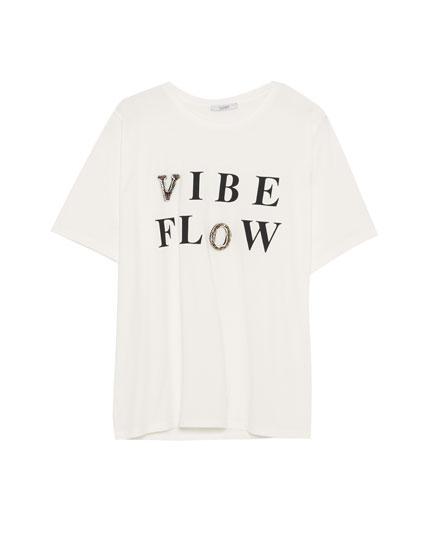Slogan T-shirt with gem embellishment