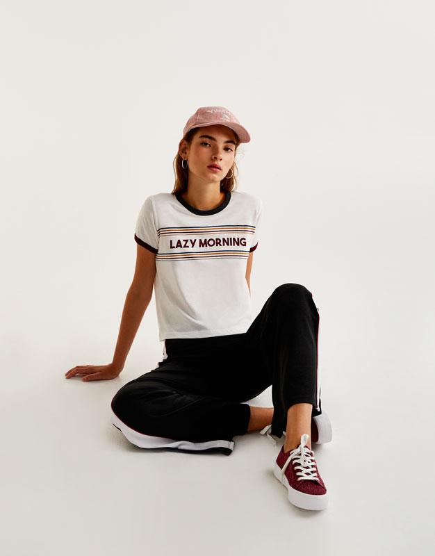 Short sleeve T-shirt with slogan