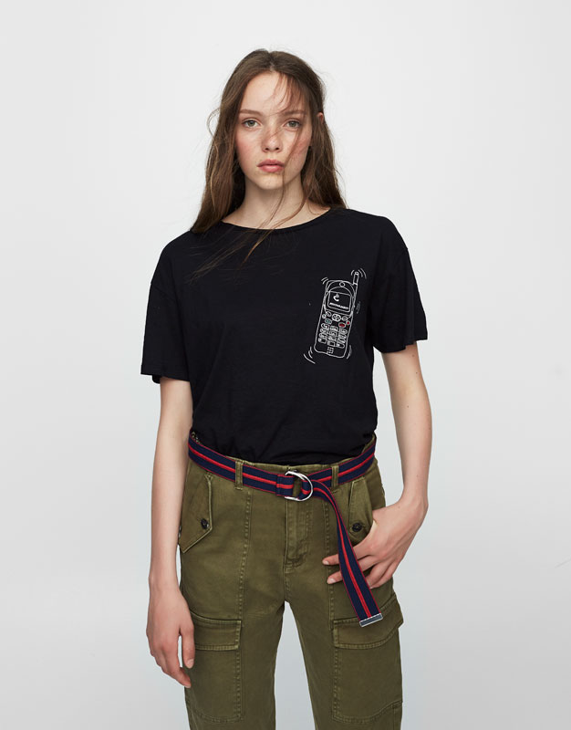T-shirt with embroidered telephone