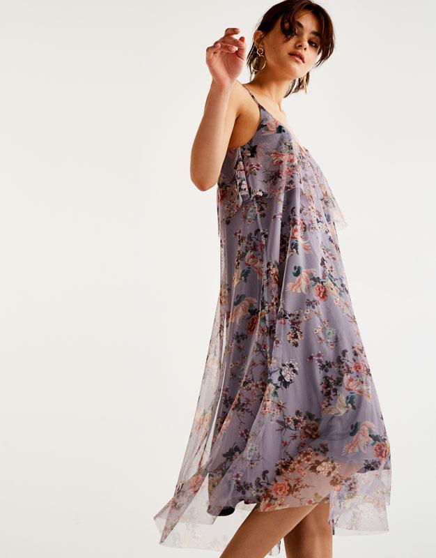 Vestido tul estampado flores