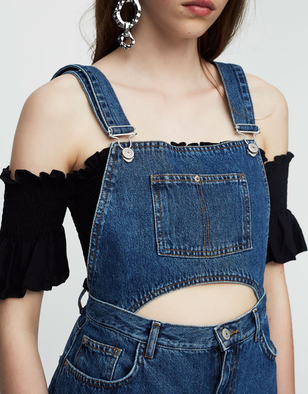 Denim dungarees with open midriff detail
