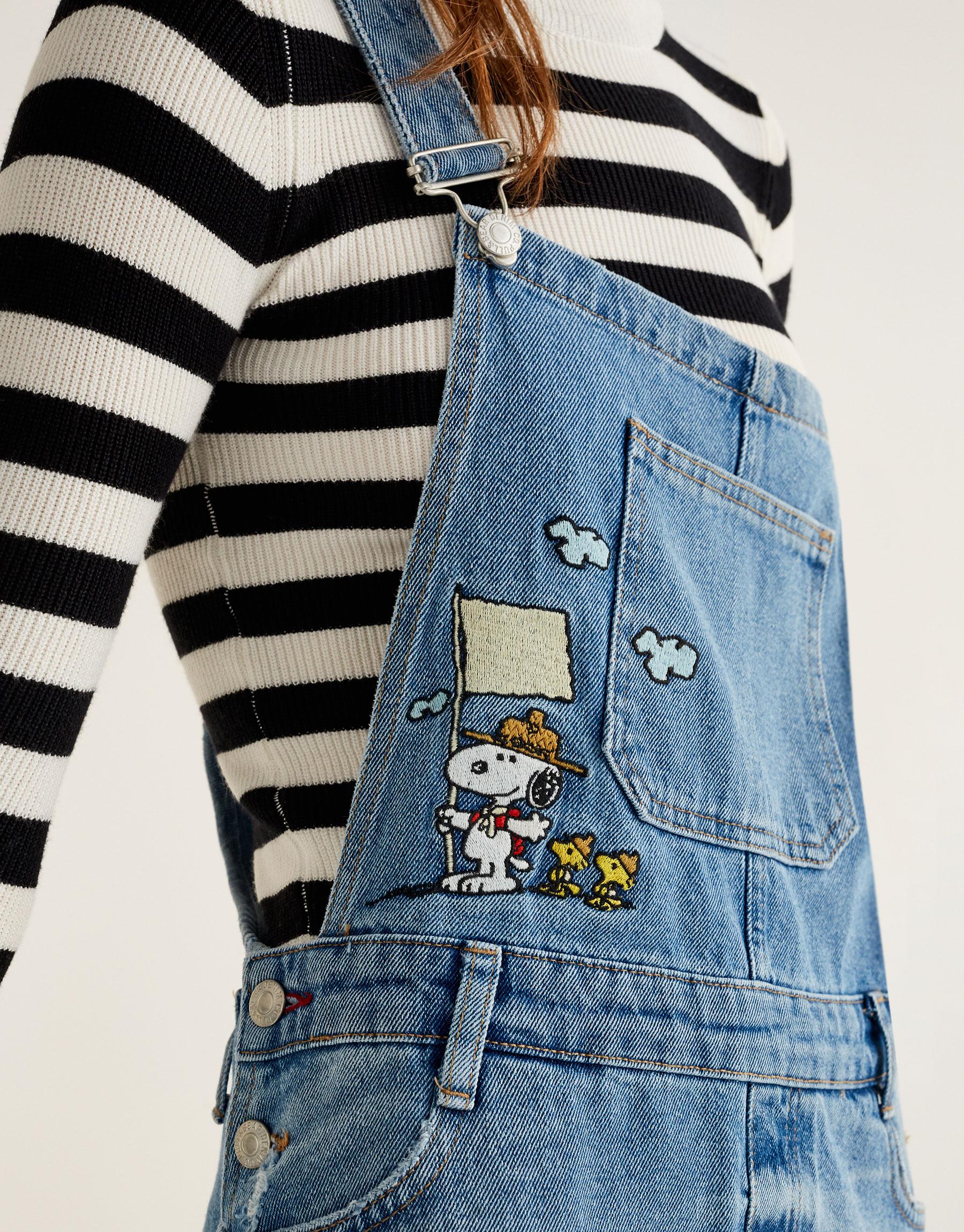 Denim Snoopy pinafore dress