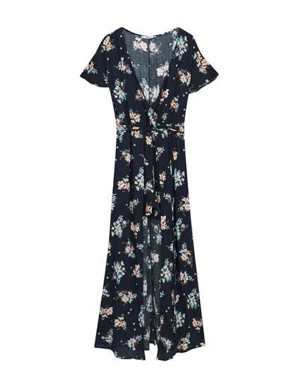 Kimono-style jumpsuit with floral trousers