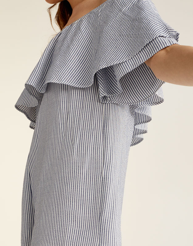 Striped jumpsuit with ruffled Bardot neckline