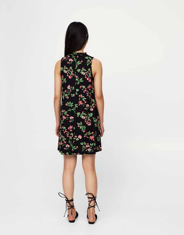 Floral print choker neck dress