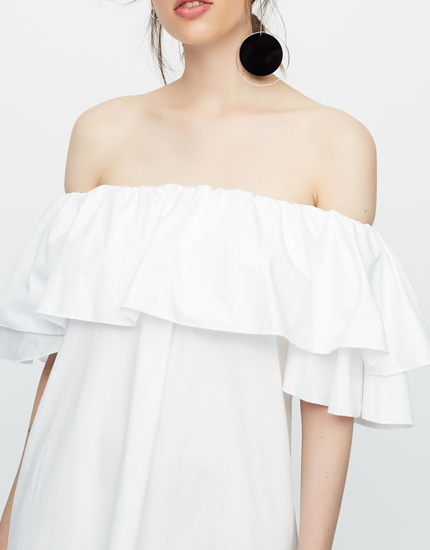 Off-the-shoulder dress with ruffled neckline