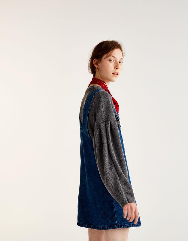Robe salopette jean poche devant
