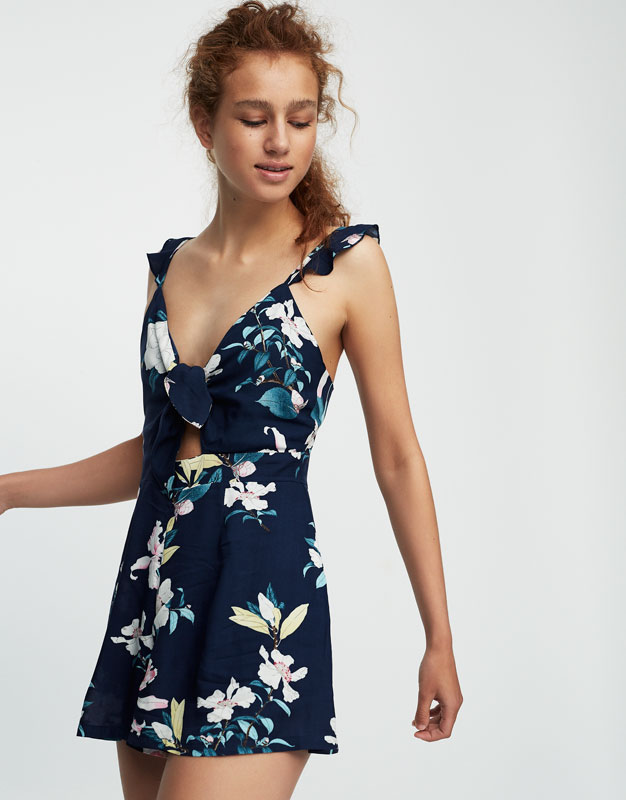 Floral print jumpsuit with knotted neckline
