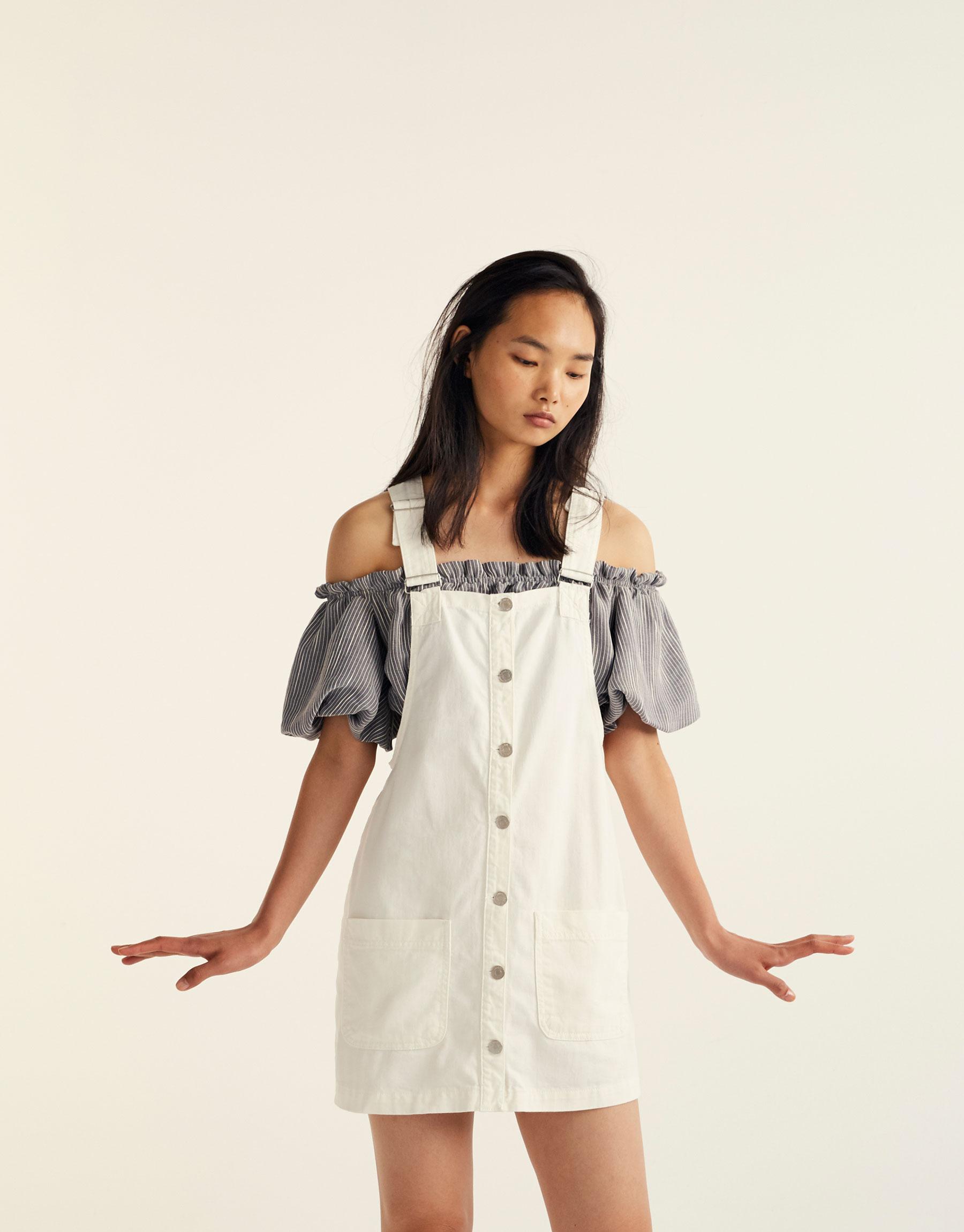 Button-up denim pinafore dress