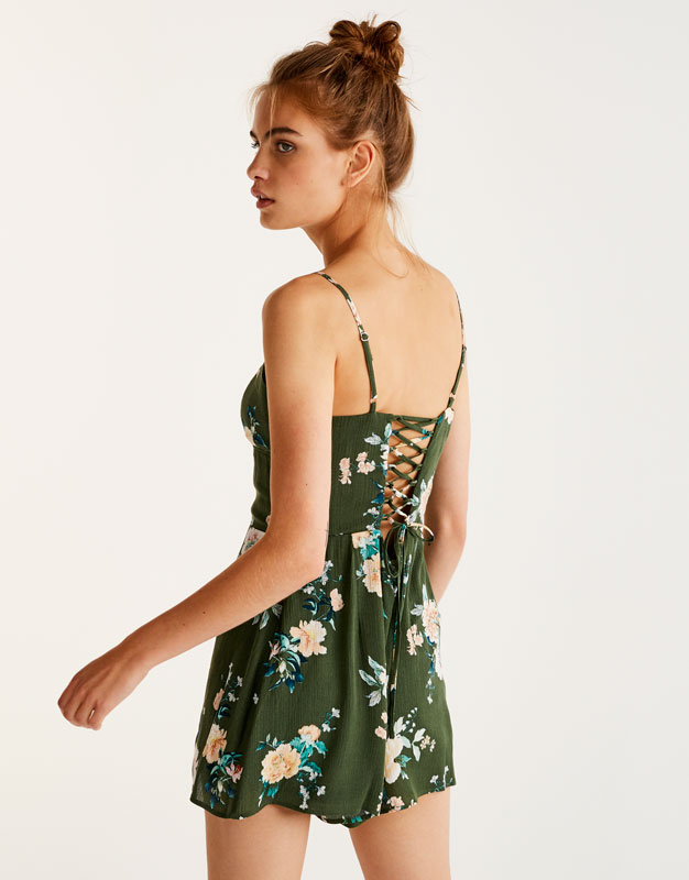 Floral print jumpsuit with thin straps