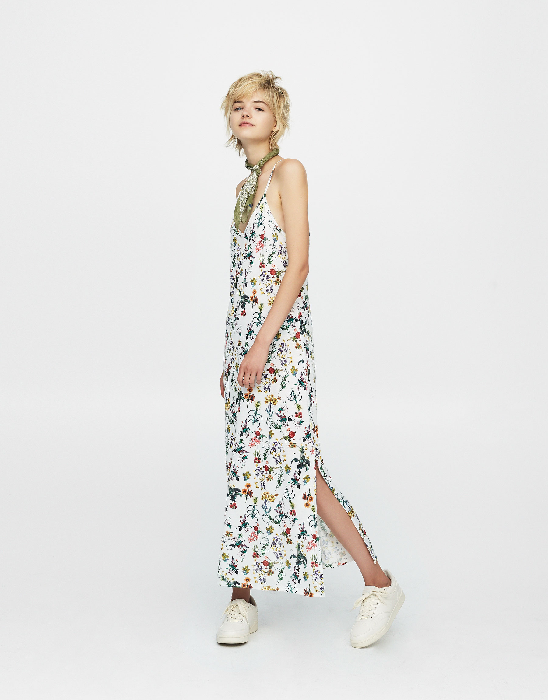 Printed dress with thin straps