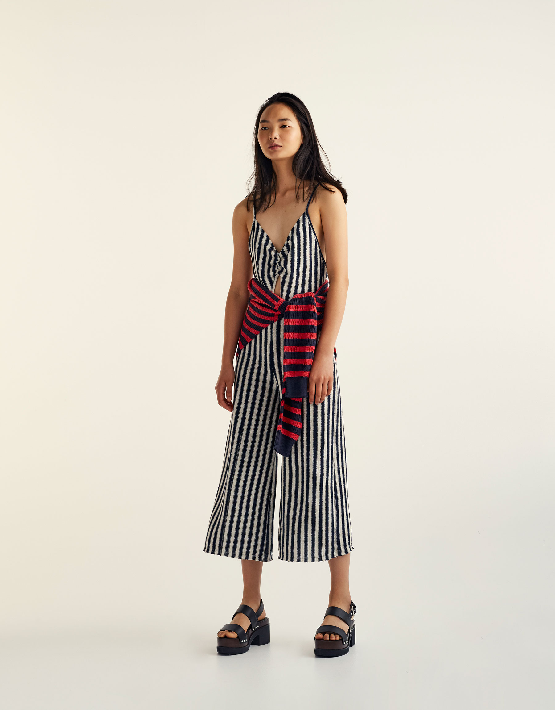 Striped jumpsuit with gathered neckline