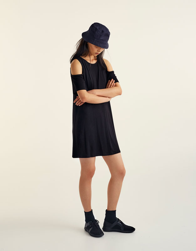 A-line dress with cut out shoulders