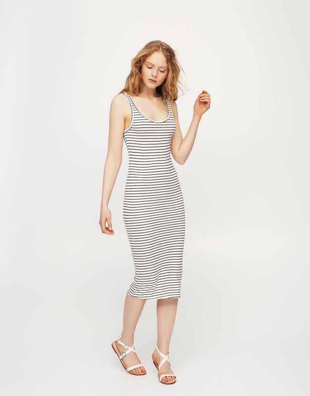 Striped basic midi dress