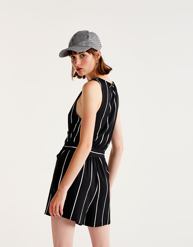 Pinstripe jumpsuit with bow