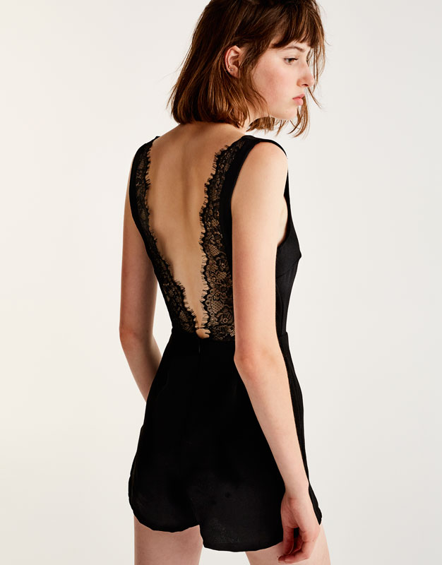 Jumpsuit with lace-trimmed back