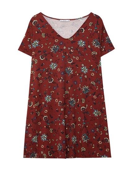 Vestido estampado floral escote pico