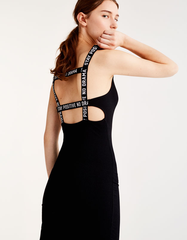 Midi dress with slogan on the straps