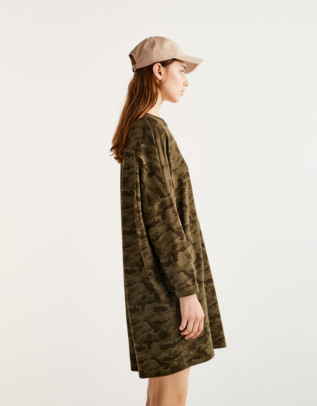 Vestido cocoon camuflaje