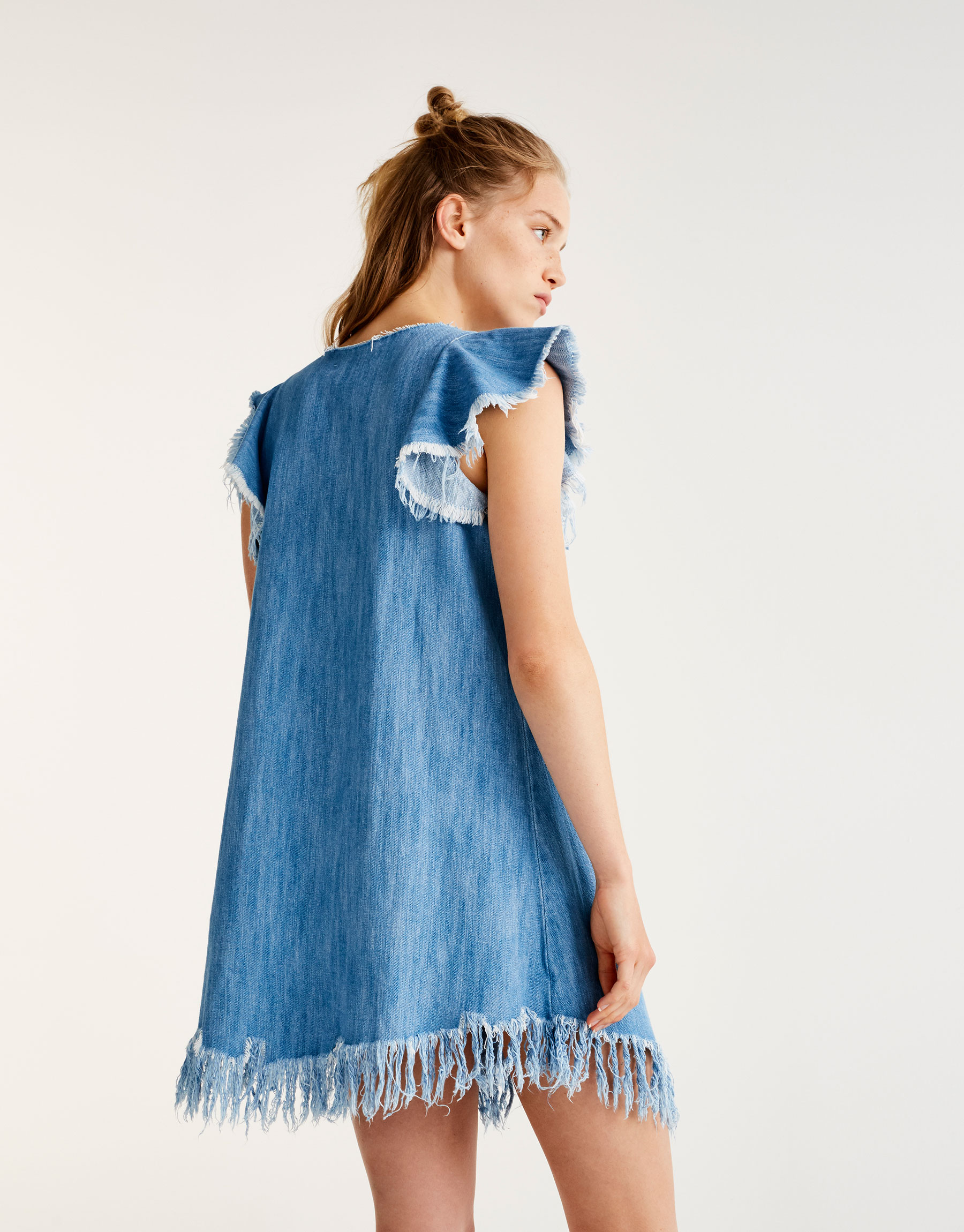 Frayed denim dress with ruffles