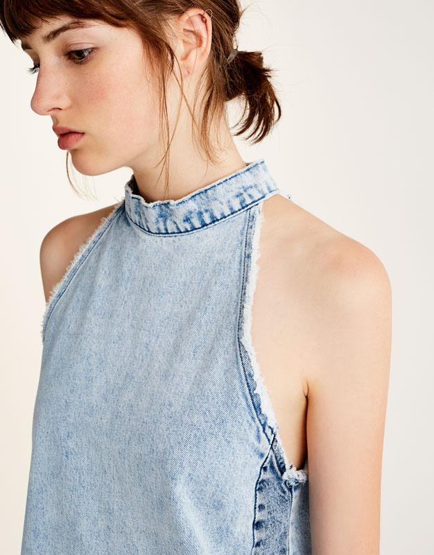 Patchwork denim dress with choker neck