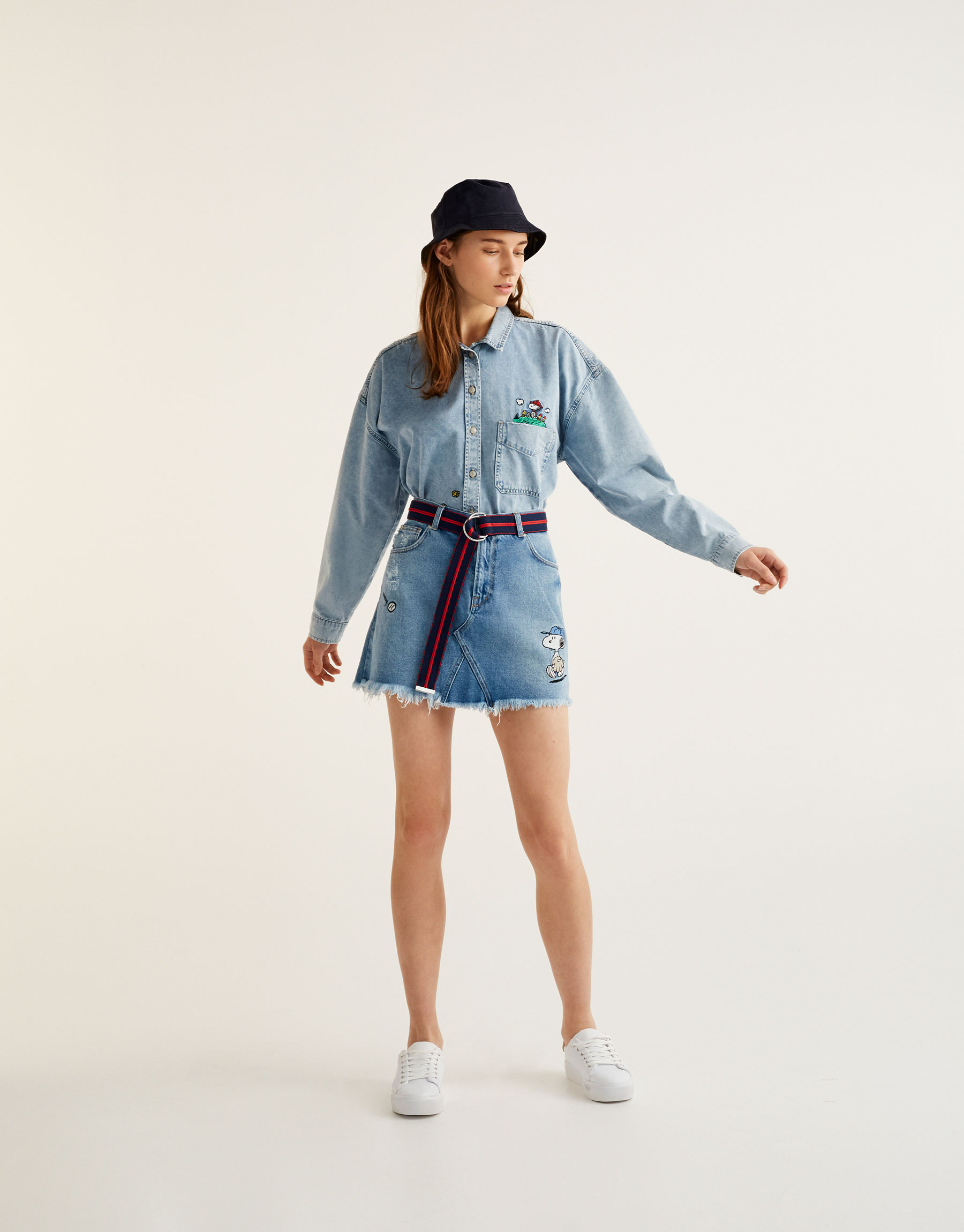 Denim Snoopy skirt