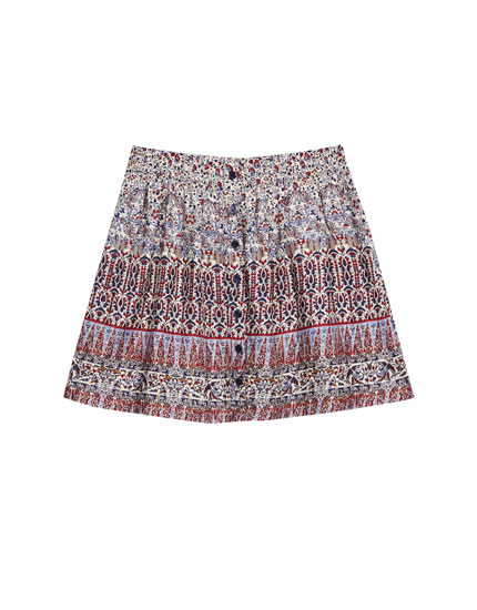 Flounced printed mini skirt