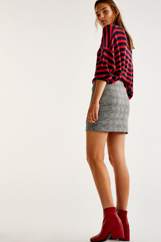 Checked and floral print skirt