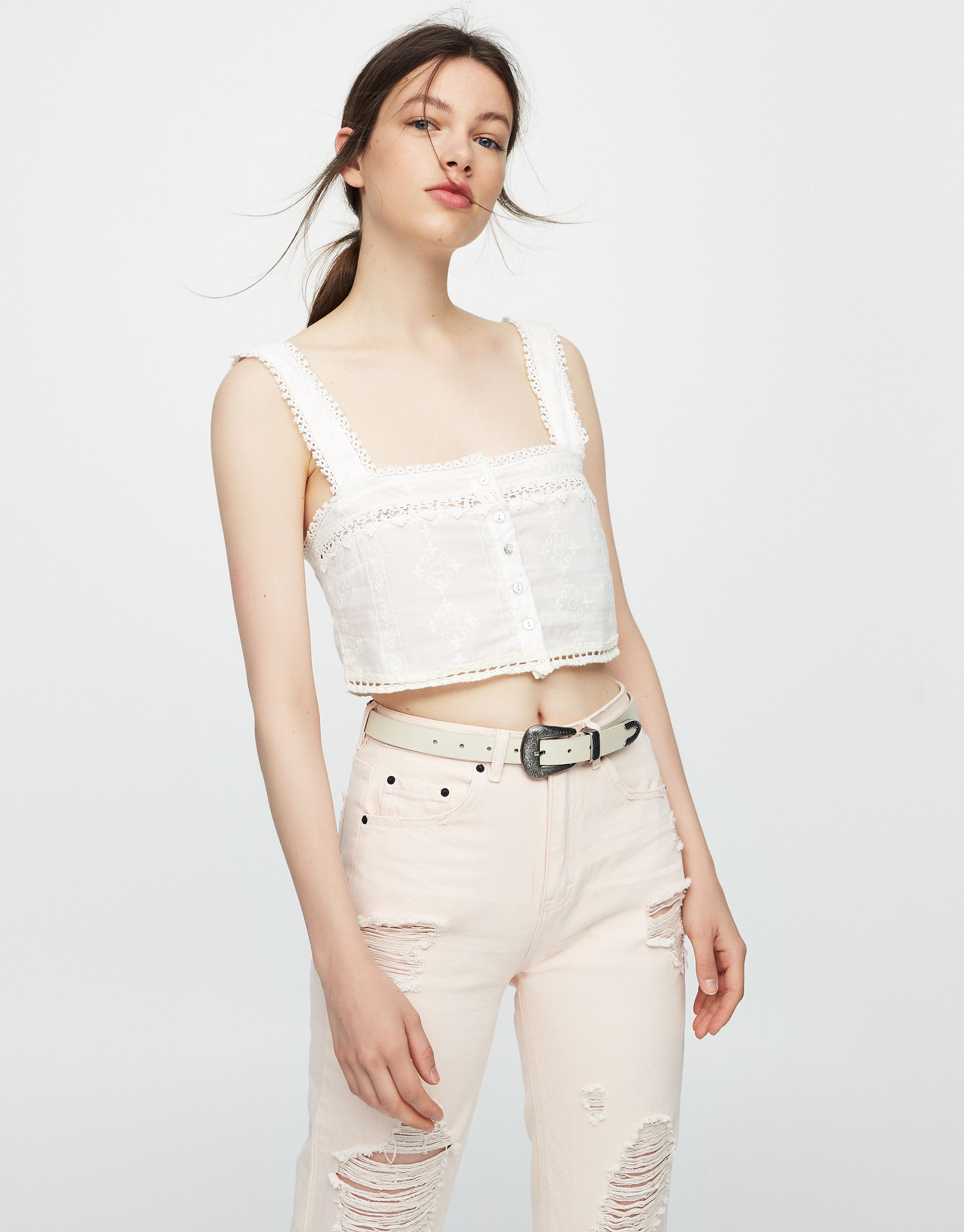 Buttoned crop top with embroidered detail