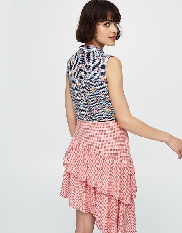 Chemise sans manches fleurs et rayures