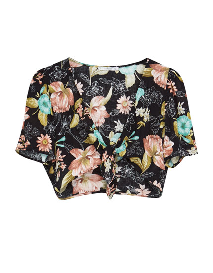 Floral print knotted blouse