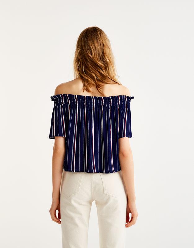 Blusa rayas hombros al aire
