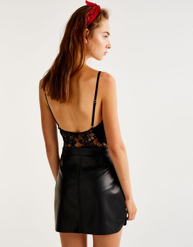 Lace bodysuit with deep neckline