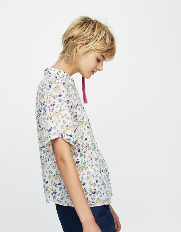 Floral print short sleeve shirt