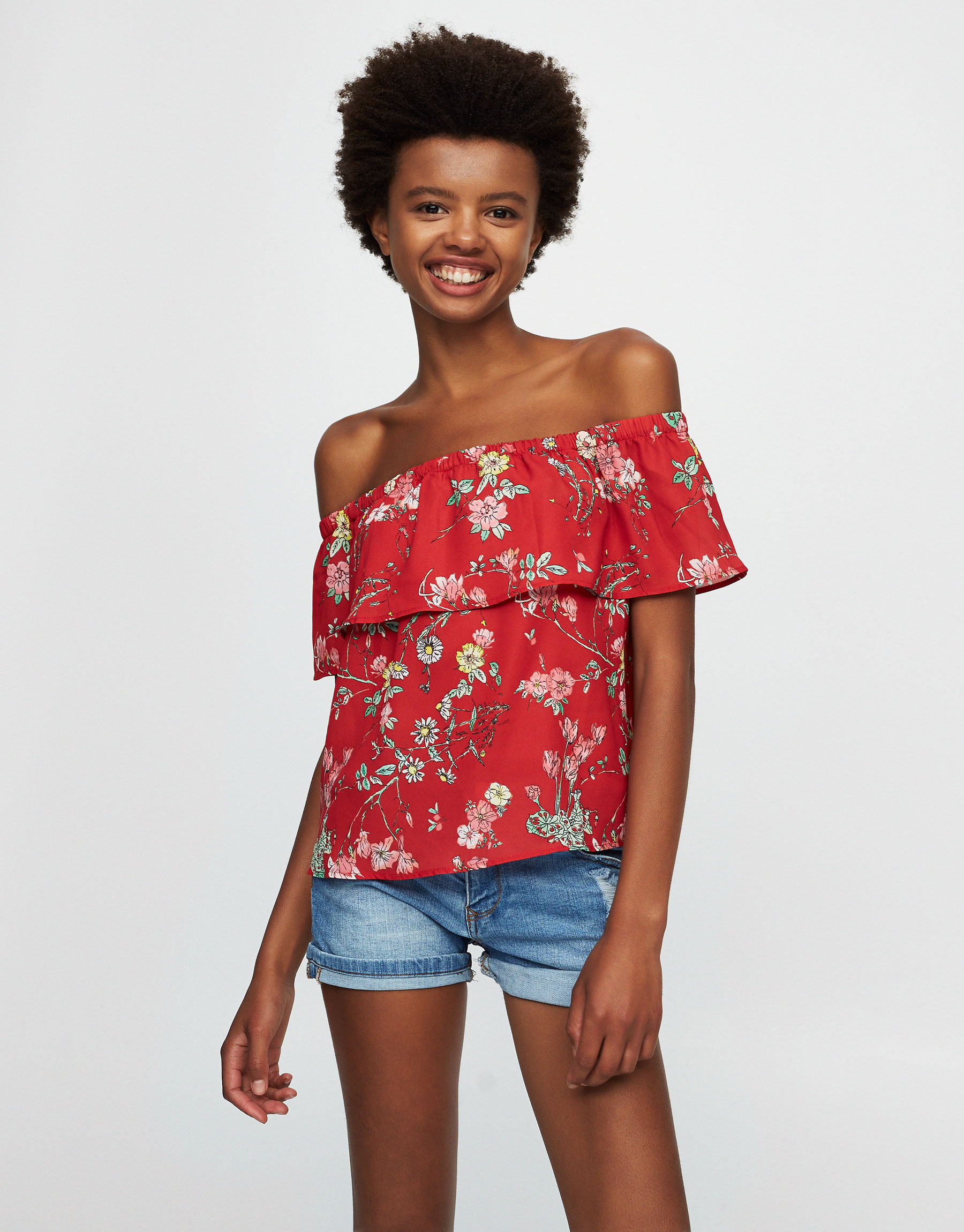 Ruffled printed top