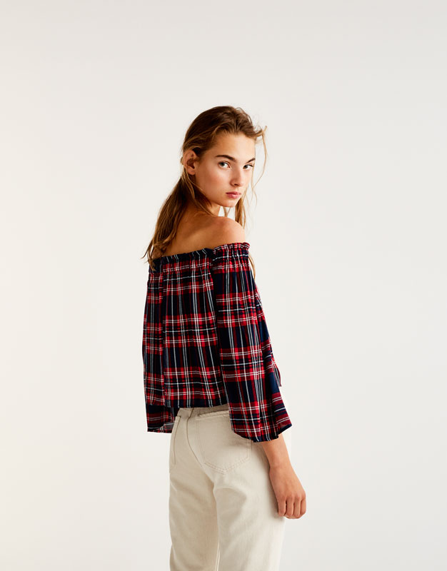 Checked blouse with bell sleeves