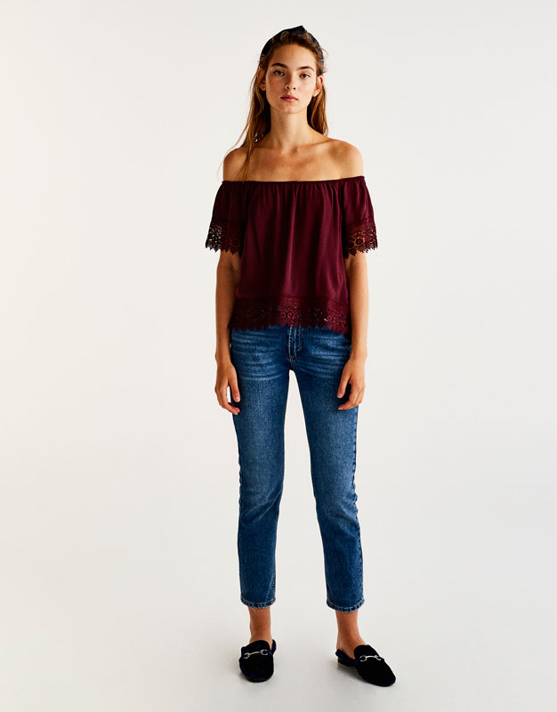 Off-the-shoulder blouse with crochet trims