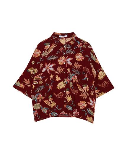 Camisa màniga curta estampat flors