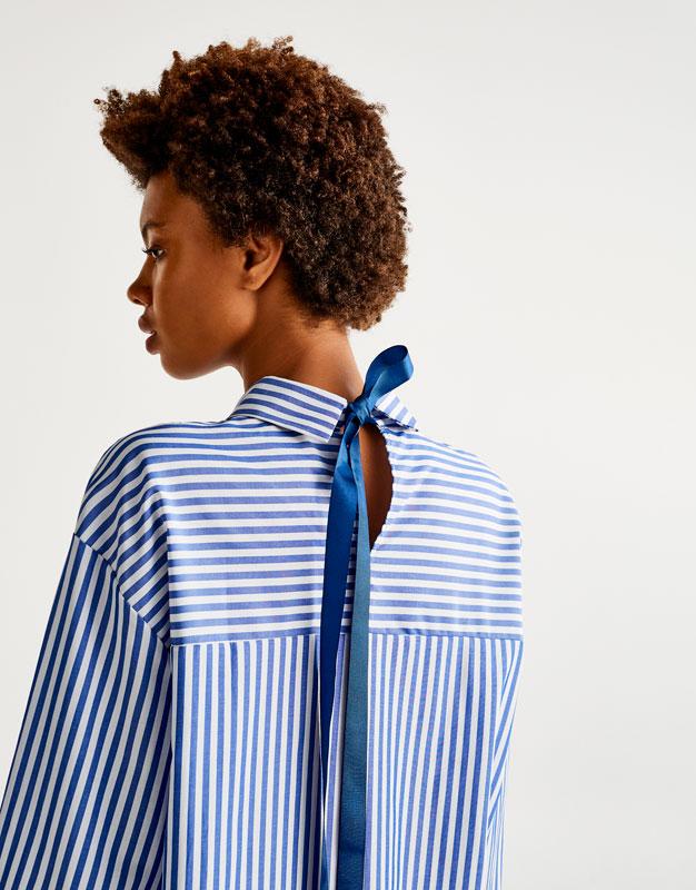 Pull&Bear - femme - vêtements - blouses et chemises - chemise rayures nœud dos - bleu - 09472397-I2017