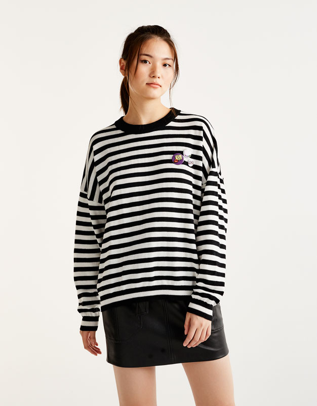 Striped sweater with patches