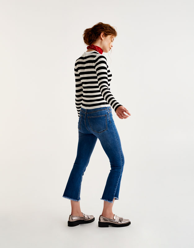 Nautical striped cropped sweater